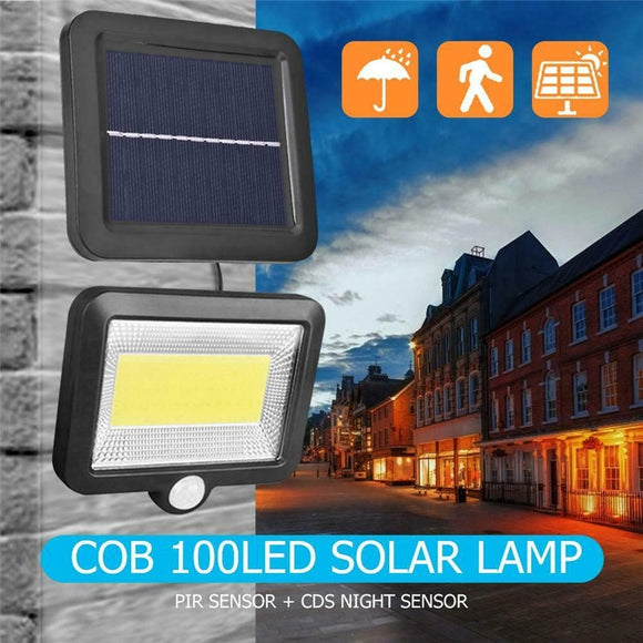 CMC, 100 LED COB Solar Powered Light Street Spotlight Solar Lamp Outdoor Garden Security Night Wall Split Light Solar Lighting