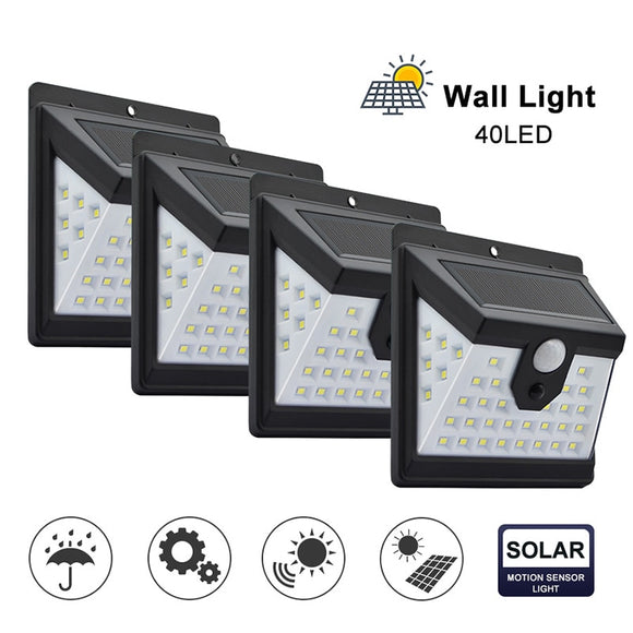 CMC, 40 LED Outdoor Solar Wall Lamp 3 Modes PIR Motion Sensor Waterproof Light Garden Light Path Emergency Security Light Dropship