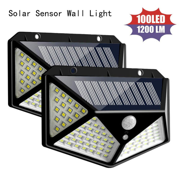 CMC, Outdoor 100 LED Solar Power Wall Light Motion Sensor Solar Power Light Outdoor Waterproof Lamp Solar Led Solar Lights Solar Lamp
