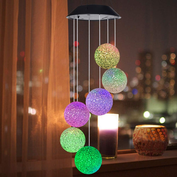 CMC, LED Solar Powered Butterfly Wind Chimes Light Home Garden Hanging Lamp Outdoor Decoration