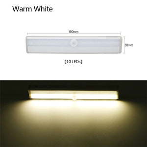 CMC, 10 LED Wireless USB Rechargeable Motion Sensor Cabinet Light Under Counter Closet Lighting Magnetic Stick-on Night Light Bar