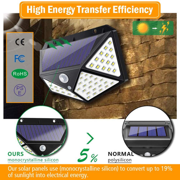 CMC, Outdoor Solar Lamp 100 LED Solar Light PIR Motion Sensor Wall Light Waterproof Solar Powered Sunlight for Garden Decoration