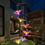 CMC, christmas lights outdoor Solar Powered Wind Chime Light LED Garden Hanging Spinner Lamp Color Changing