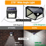 CMC, 100 / 144 LED Light Four Sides Solar Light 3 Modes 270 Degree Angle Motion Sensor Wall Lamp Outdoor Garden Waterproof Lamps