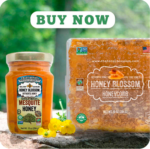 jar of mesquite honey, with a USA Honeycomb on the right, on rocks, and vegetation in the background. and a button that says: Buy Now