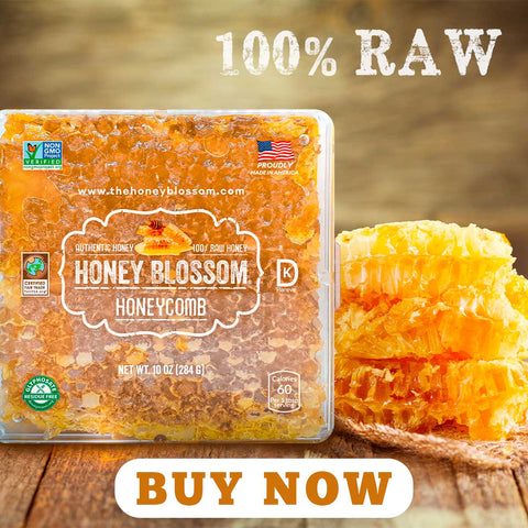 """USA Honeycomb, with 3 honeycombs on the right, on a wooden table, a title that says """"100% RAW"""" and a button that says: Buy Now."""