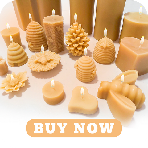 several lighted candles in the inventory of Honey Blossom with shapes of beehives, pine cones, hearts, different flowers and large candles. With a button that says: Buy Now