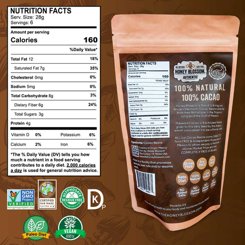 Image of the Cacao Beans bag from the back, with the nutrition facts table, and logos of the certifications: Non GMO, Fair Trade, Glyphosate Free, Kosher Pareve, Paleo Diet and 100% Vegan.