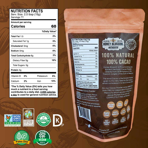 Image of the Cacao powder bag from the back, with the nutrition facts table, and logos of the certifications: Non GMO, Fair Trade, Glyphosate Free, Kosher Pareve, Paleo Diet and 100% Vegan.