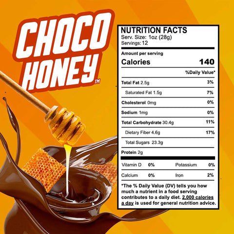 a swirl of melted chocolate with honeycombs inside and a spoon dropping honey inside. The image of the nutritional facts of the product and a background with yellow stripes.
