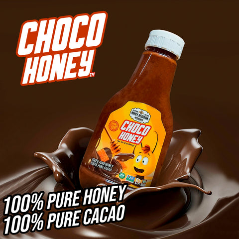 Choco Honey bottle falling on melted chocolate and text that says: 100% Pure Cacao, 100% Pure Honey