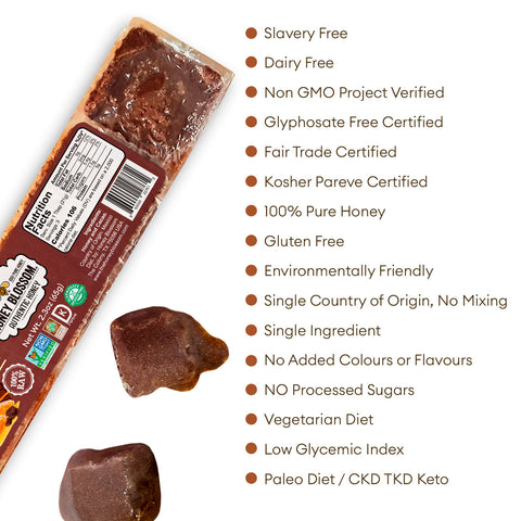 the Chocolate Covered 100% RAW Honeycomb snack size with white background and text that says: Slavery Free, Non GMO project verified, glyphosate free certified, fair trade certified, kosher pareve certified, 100% pure honey, gluten free, environmentally friendly
