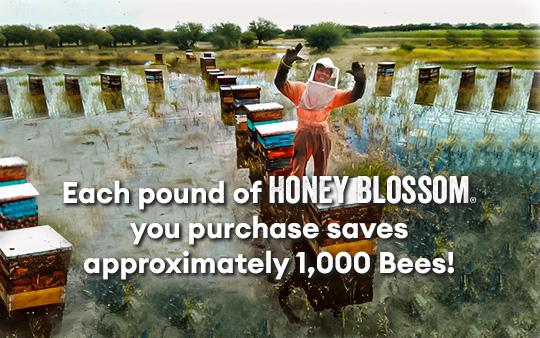 Each pound of Honey Blossom you purchase saves approximately 1000 bees