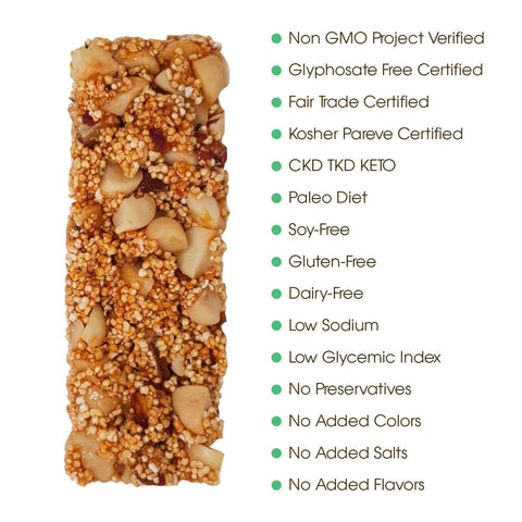 the Mesquite Honey Snack Bar, with several dots that say: Non GMO Project Verified, Glyphosate Free Certified , Fair Trade Certified, Kosher Pareve Certified, 100% Pure Honey, Gluten Free, Single Country of Origin, No Mixing, Single ingredient, No added colours or flavours, Vegetarian Diet, Low Glycemic Index, Paleo Diet / CKD TKD Keto, No processed sugars, no added salts, no preservatives