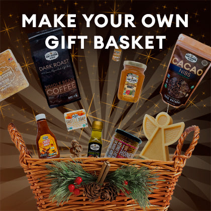 Button with the image of a Gift Basket and several Honey Blossom products going into it and title that says: Make Your Own Gift Basket