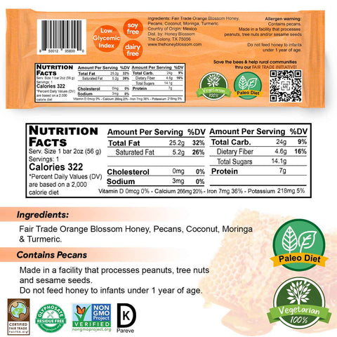 Image of the nutritional table, the back of the snack bar, the logos of the certifications: fair trade, glyphosate residue free, non gmo and kosher pareve