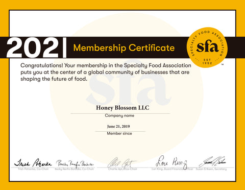 Specialty Food Association 2021 membership certificate, signed by 5 people.