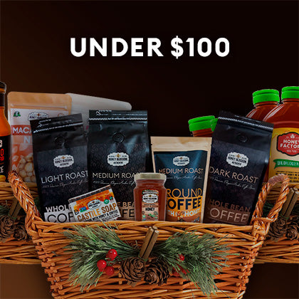 Button with the image of a Gift Basket with various Honey Blossom products and a title that reads: Under $100