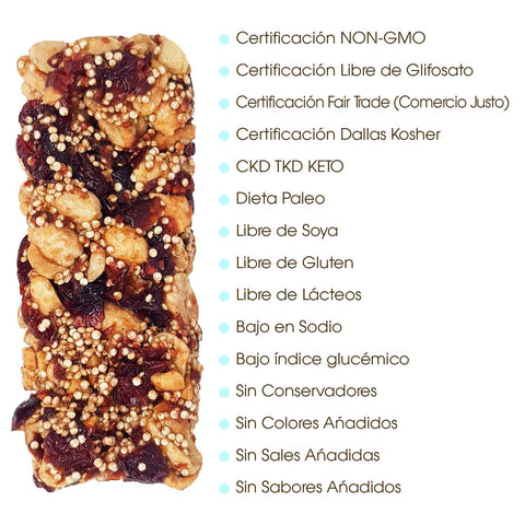 the Wildflower Honey Snack Bar, with several dots that say: Non GMO Project Verified, Glyphosate Free Certified , Fair Trade Certified, Kosher Pareve Certified, 100% Pure Honey, Gluten Free, Single Country of Origin, No Mixing, Single ingredient, No added colours or flavours, Vegetarian Diet, Low Glycemic Index, Paleo Diet / CKD TKD Keto, No processed sugars, no added salts, no preservatives