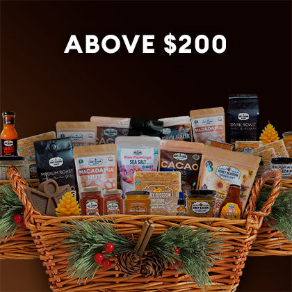Button with the image of a Gift Basket with various Honey Blossom products and a title that reads: Above $200