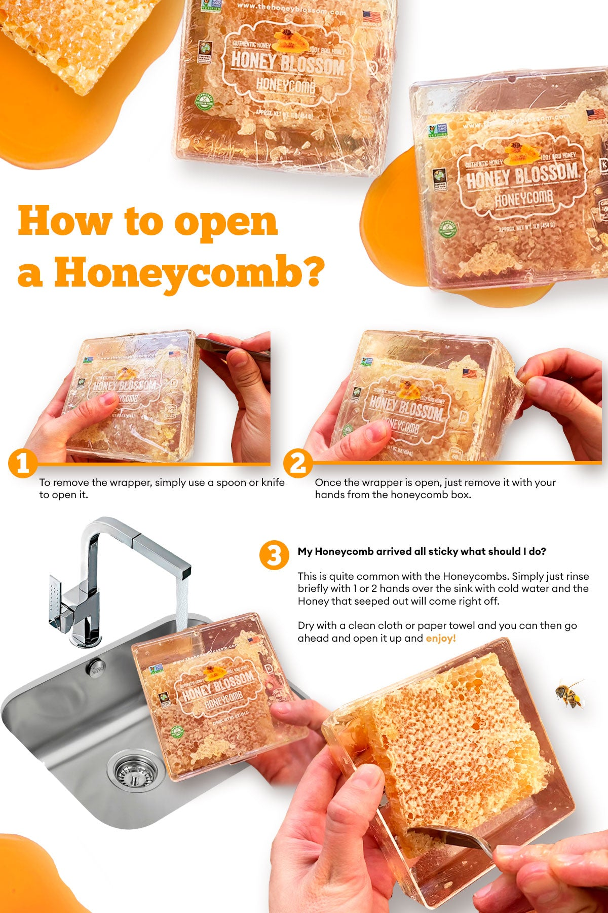 Image showing the steps on how to open a Honey Blossom honeycomb.
