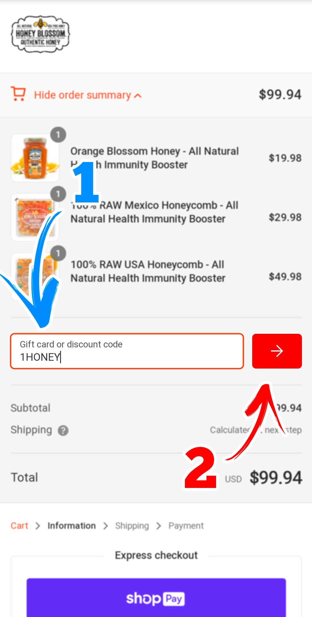 Screenshot of the mobile payment page, showing the area where the promo code is placed.
