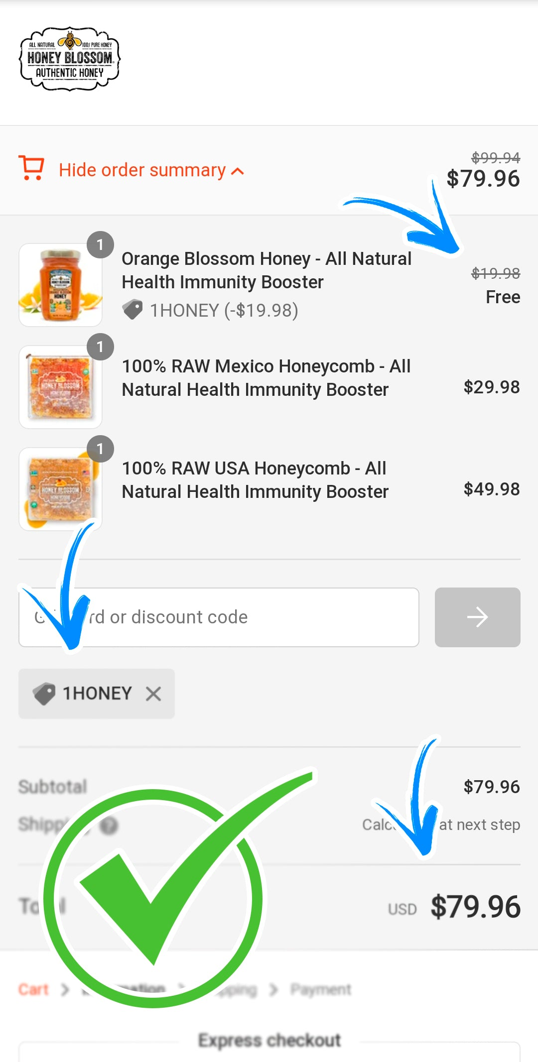 Screenshot of the mobile payment page showing that the promo code was successfully applied.