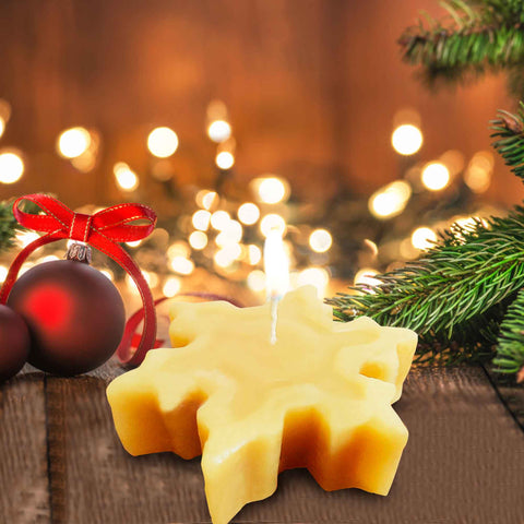 Beeswax Candle Honey Blossom Snowflake
