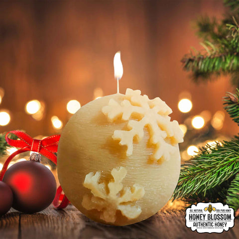 100% Beeswax Candle | Snowball