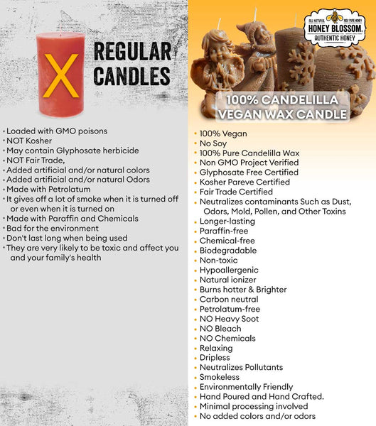 Image showing the differences between 100% candelilla vegan wax candles versus regular candles. Some of the points shown are that the candelilla wax candles neutralizes contaminants such as dust, odors, mold, pollen, and other toxins from the air, longer lasting, paraffin-free, chemical free, biodegradable, non-toxic, hypoallergenic... And Regular Candles are loaded with GMO poisons, with added artificial and/or natural colors and odors