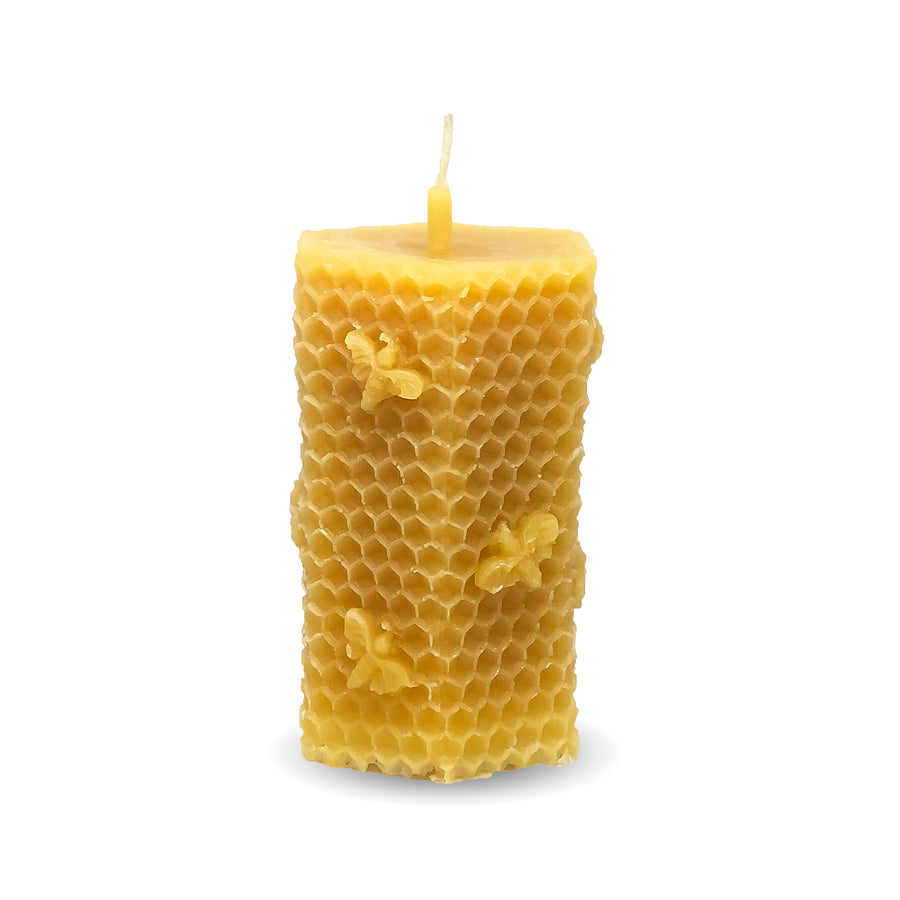 Beeswax Candle | 3.88 oz Hexagonal With Bees - Honey Blossom USA
