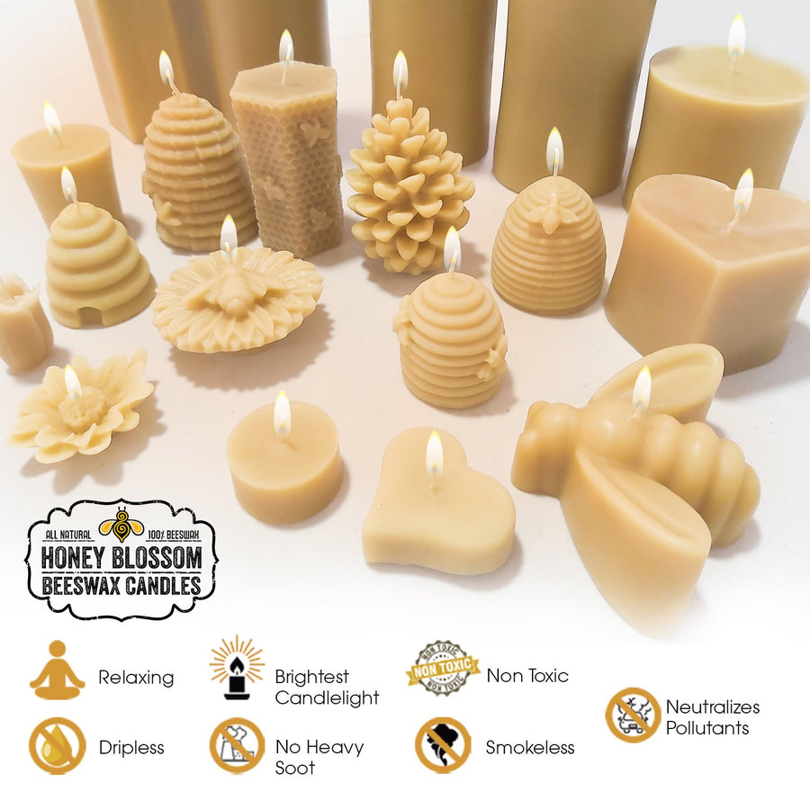 100% Beeswax Candle ALL Natural Air Purifier vs Allergies and Airborne Contaminants | Snowflake