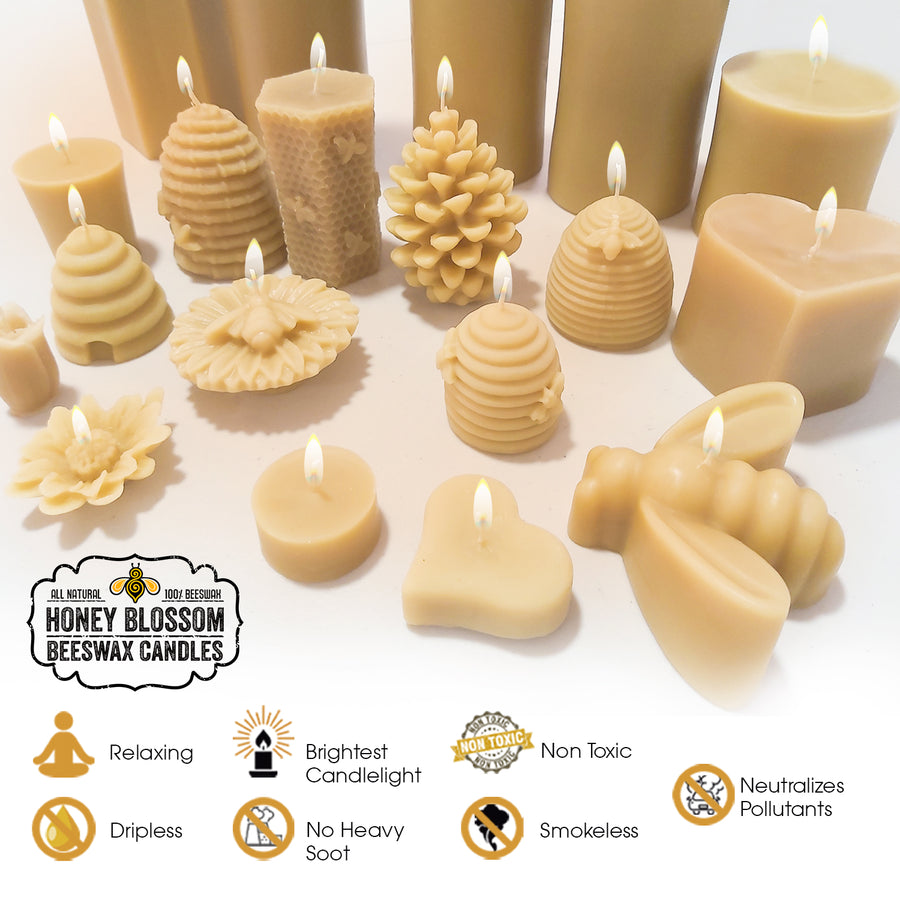 Beeswax Candle | 13 oz Short Cylinder Candle - Honey Blossom USA