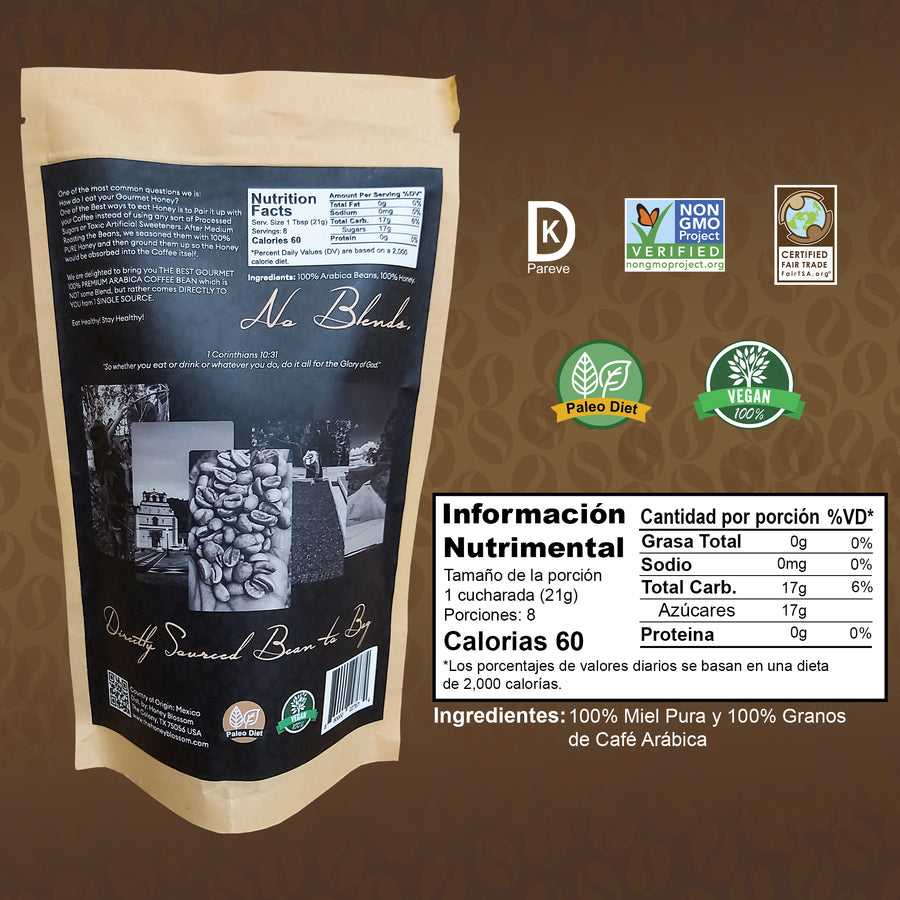 100% Arabica Bean GOURMET Ground Coffee with Honey / Medium Roast / ALL Natural Health Immunity Booster
