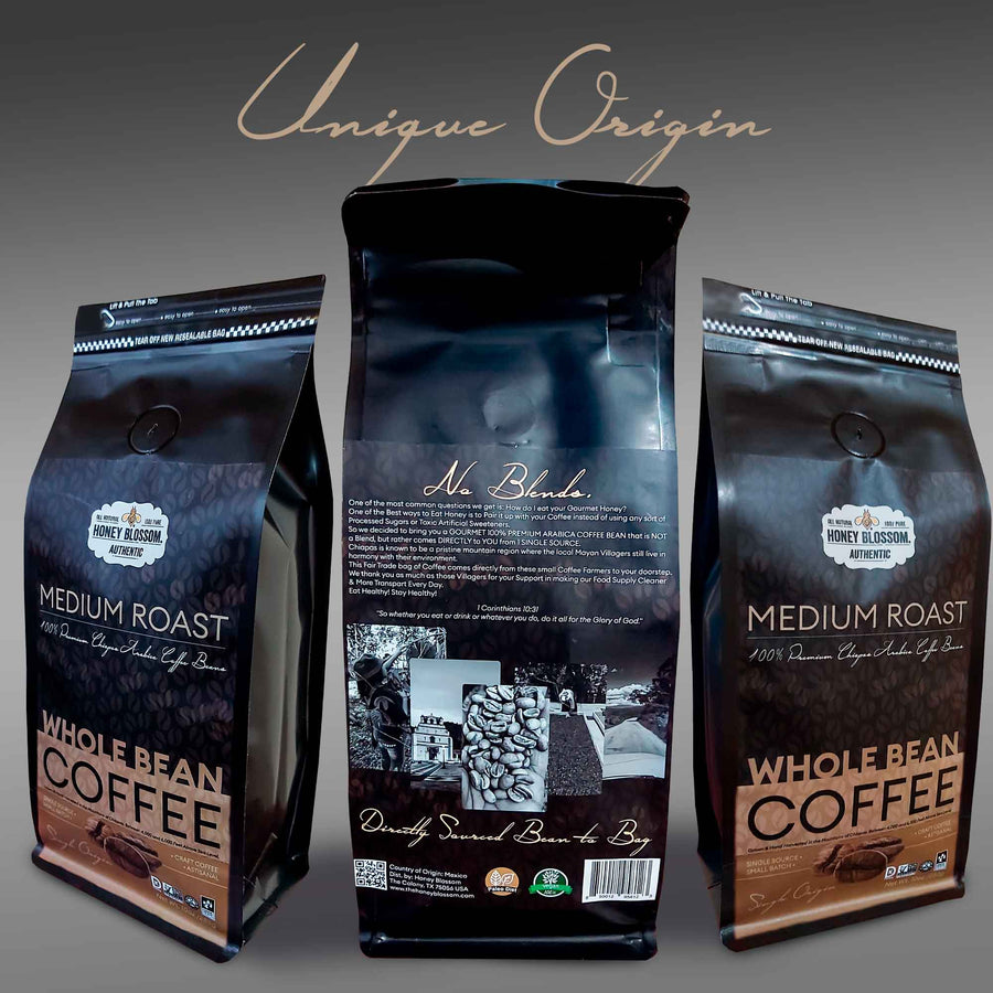 100% Arabica Bean GOURMET Whole Bean Coffee / Medium Roast / ALL Natural Health Immunity Booster