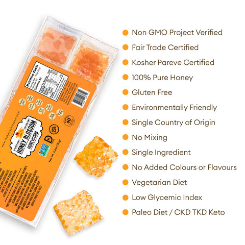 RAW honeycomb Snack Size, 10 Servings with white background and text that says: Non GMO project verified, fair trade certified, kosher pareve certified, 100% pure honey, gluten free, environmentally friendly, single country of origin, no mixing...