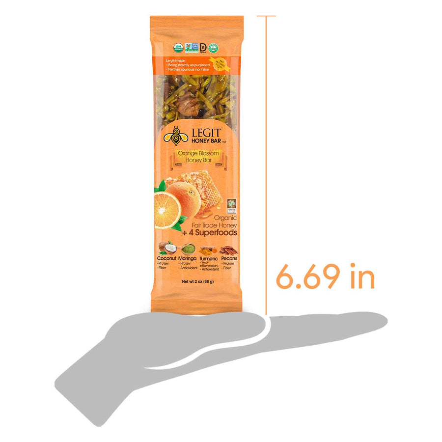 Orange Blossom Honey Bar 6-Pack | Honey, Coconut, Moringa, Turmeric, Natural, Health