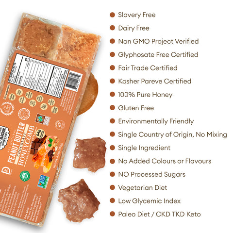 the Peanut Butter Chocolate Covered 100% RAW Honeycomb Snack Size, 10 Servings with white background and text that says: Slavery Free, Non GMO project verified, glyphosate free certified, fair trade certified, kosher pareve certified, 100% pure honey, gluten free, environmentally friendly, single country of origin, no mixing, single ingredients