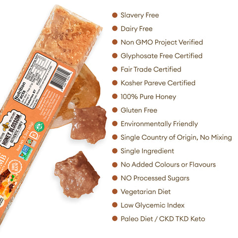 the Peanut Butter Chocolate Covered 100% RAW Honeycomb Snack Size, 5 Servings with white background and text that says: Slavery Free, Non GMO project verified, glyphosate free certified, fair trade certified, kosher pareve certified, 100% pure honey, gluten free, environmentally friendly, single country of origin, no mixing, single ingredient