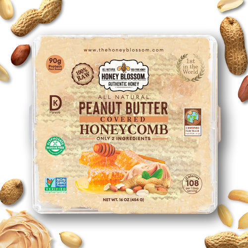Peanut Butter Covered 100% RAW Honeycomb - All Natural Health Immunity Booster