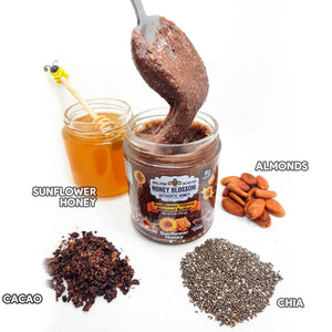 Sunflower Honey Almond Butter with Chia & Cacao - Honey Blossom USA