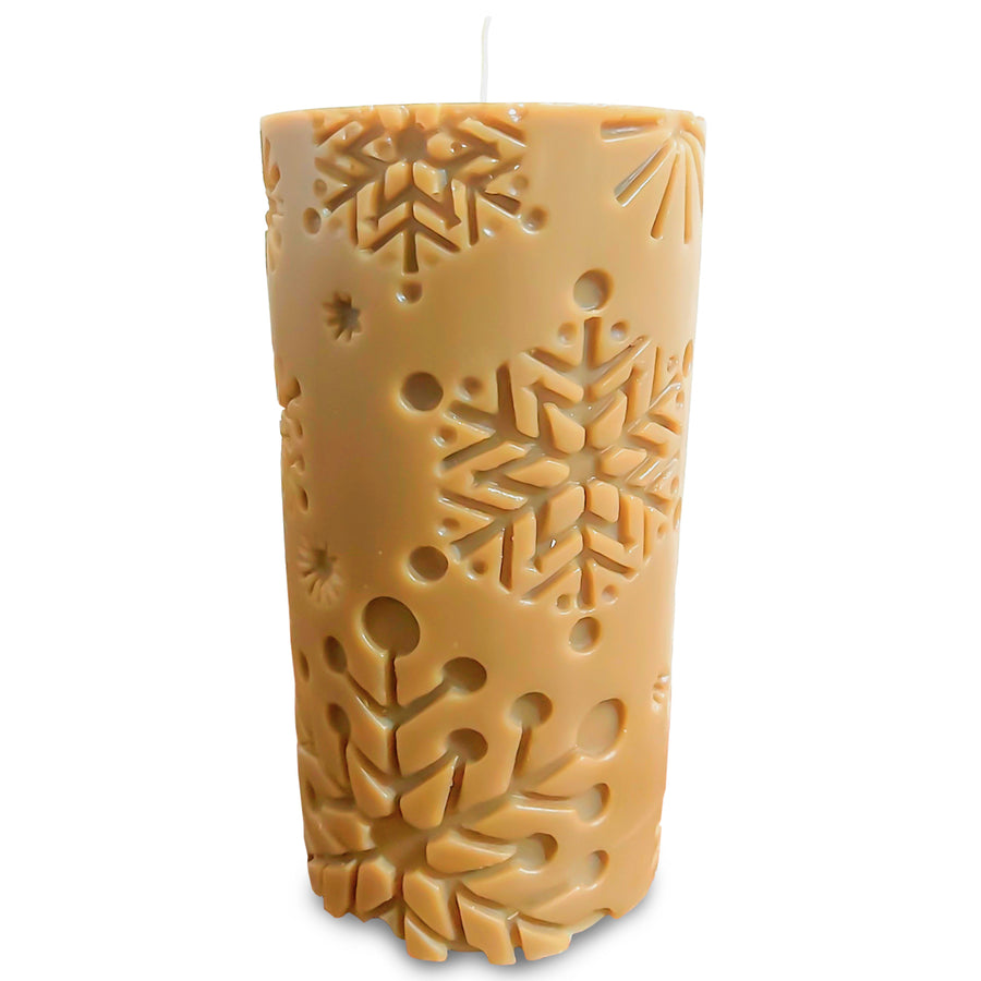 100% Beeswax Candle ALL Natural Air Purifier vs Allergies and Airborne Contaminants | Big Snowflake Cylinder
