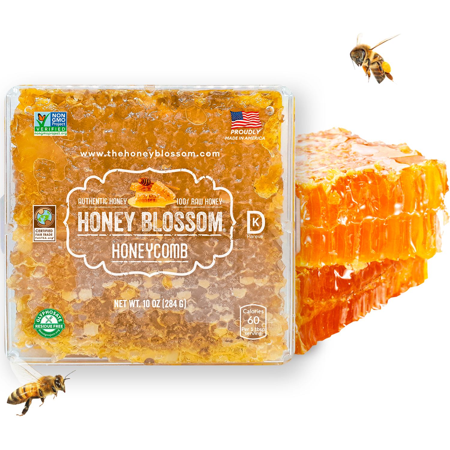 Image of Honey Blossom honeycomb box standing upright, with 2 combs behind it and honey falling from them. With several bees flying around it