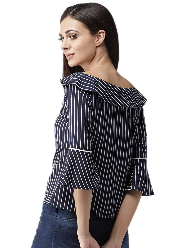 Women Navy Blue & White Striped Top