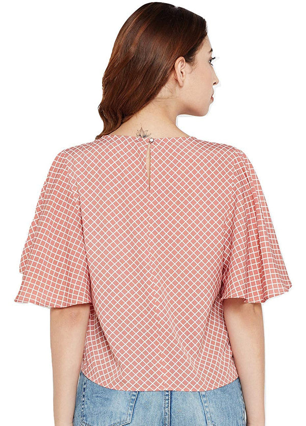 Women Dusty Pink & White Checked Top