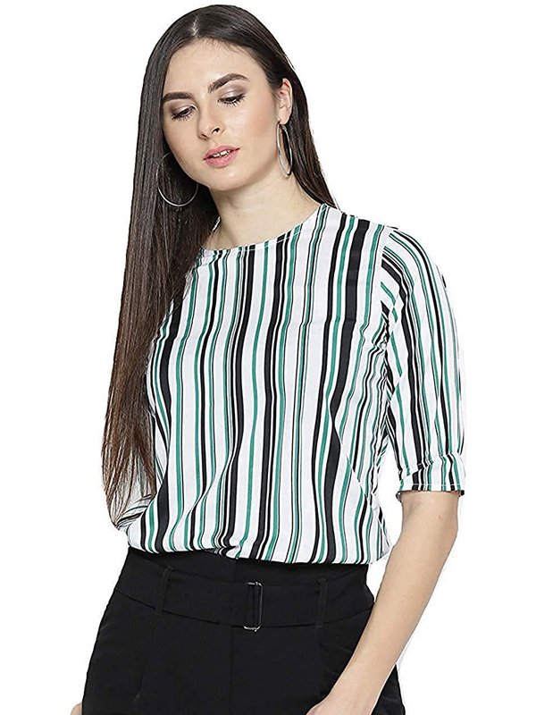 Women White & Green Striped Top