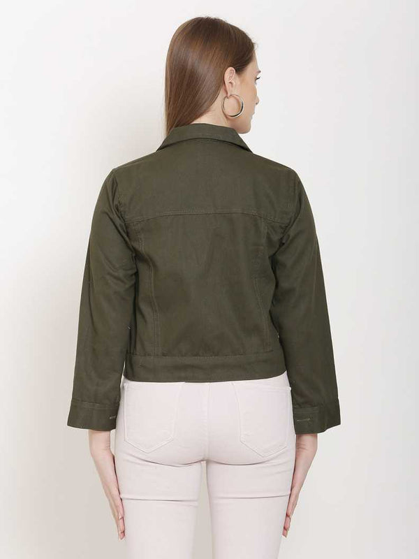 Solid Women Cotton Jacket