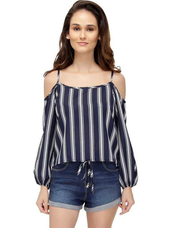 Cold Shoulder Knotted Hem Striped Top