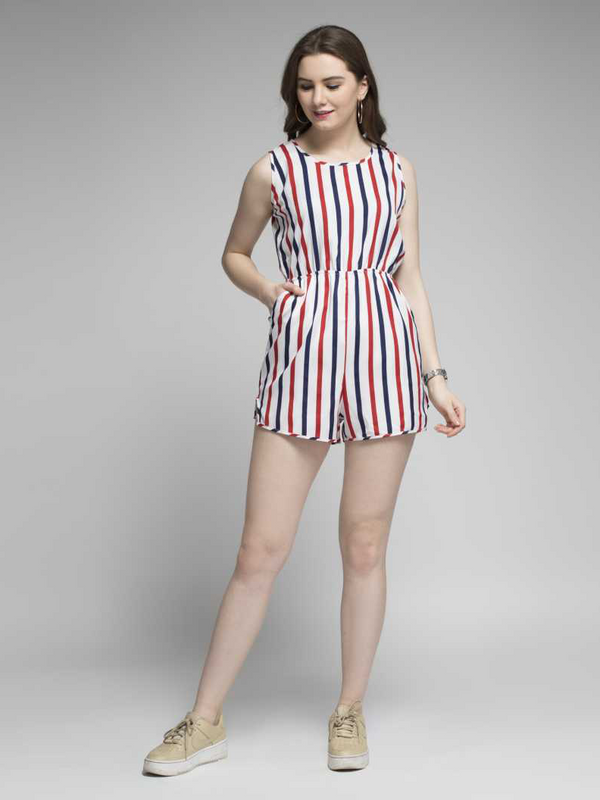 Athena Striped Women Playsuit