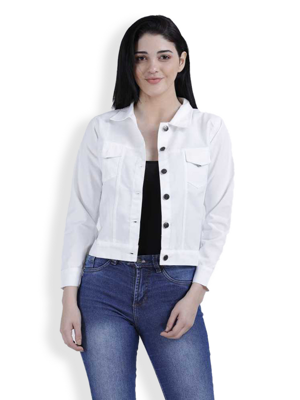 Women Solid Denim Jacket - White